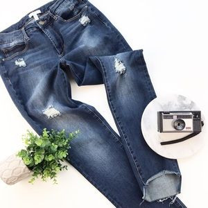 Leith Step Hem Distressed Skinny Hi Rise Jeans